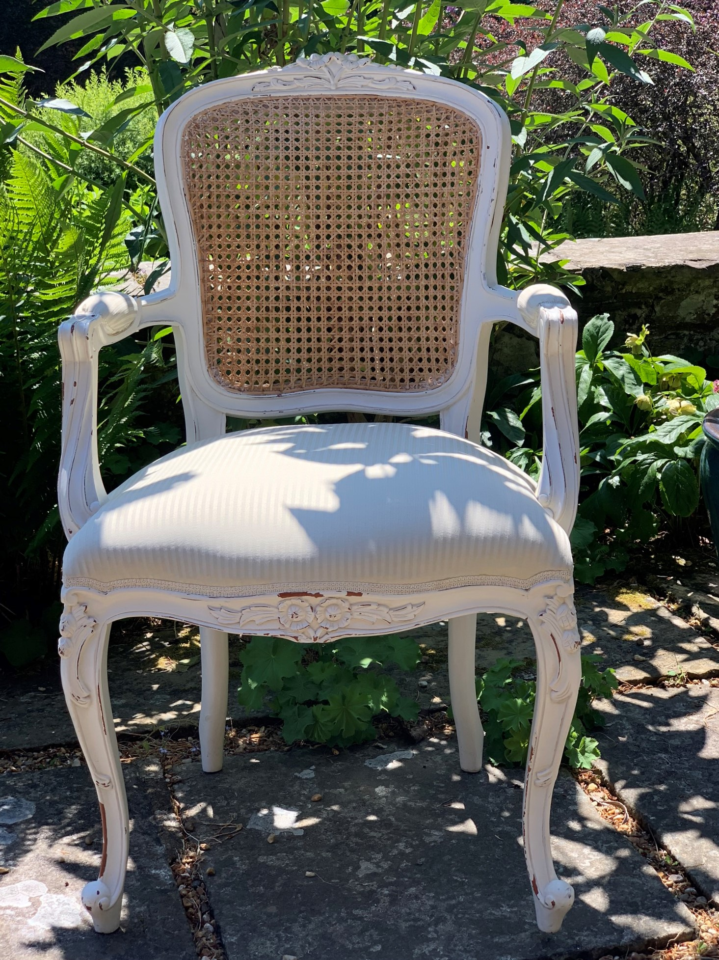 119 - French Style Cream Painted Open Armchair - Front
