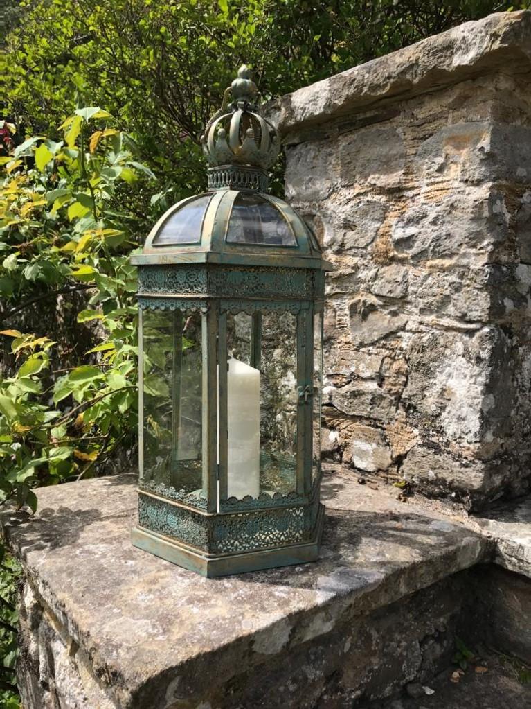 220 - large green metal ornamental free standing, hexagonal lantern - Side View